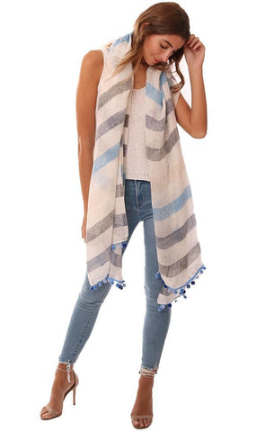 IN CASHMERE SCARVES STRIPED LINEN POM POM TRIM FLOWY SPRING SCARF