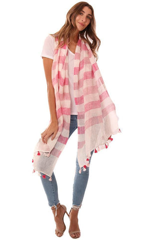 IN CASHMERE SCARVES STRIPED LINEN TASSEL TRIM FLOWY SPRING SCARF