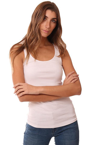 MICHAEL STARS TOPS SCOOP NECK RIBBED WHITE LAYERING TANK