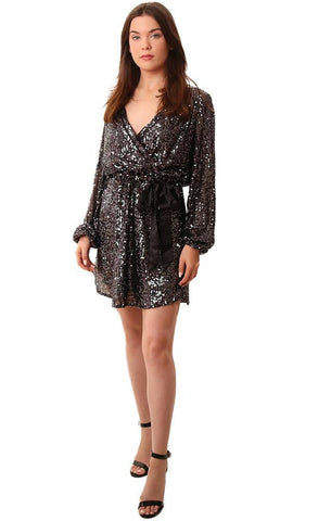 HEARTLOOM DRESSES LONG SLEEVE WRAP STYLE BLACK IRIDESCENT SEQUIN FORMAL MINI DRESS