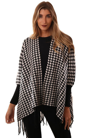METRIC WRAPS FRINGE TRIM BLACK WHITE CHECKED KNIT WRAP