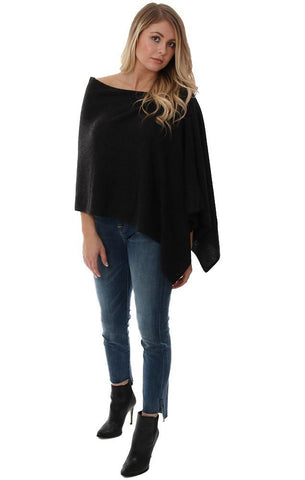 CASHMERE TOPPERS SOFT BLACK LAYERING PONCHO SHAWL