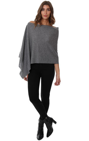 CASHMERE TOPPERS SOFT HEATHER GREY LAYERING KNIT PONCHO