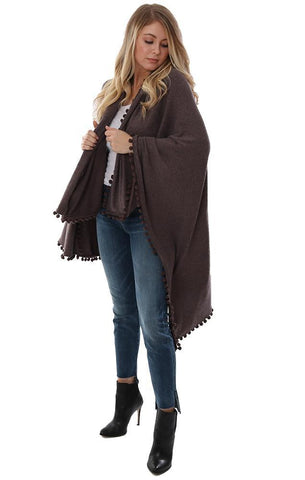 Michael Stars Shawls Pom Pom Detail Trim Brown Blanket Wrap Shawl