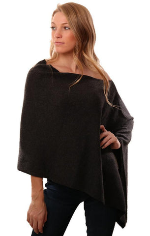 IN CASHMERE PONCHOS SOFT KNIT CHARCOAL TOPPER