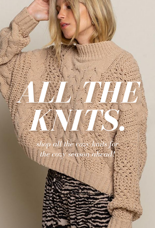 cozy knits for the fall. Comfy sweaters, jackets, joggers, matching sets and more.