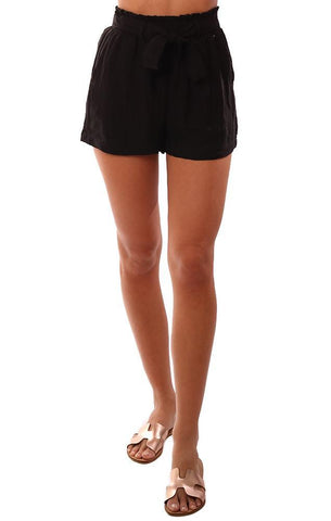 SHORTS HIGH WAISTED SMOCKED TIED WAIST LIGHTWEIGHT BLACK SHORT