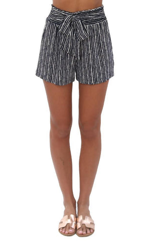 VERONICA M SHORTS TIE WAIST HIGH WAISTED NAVY WHITE STRIPED SHORT
