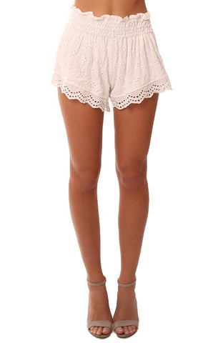 VINTAGE HAVANA SHORTS EYELET LACE SMOCKED WAIST WHITE SHORT