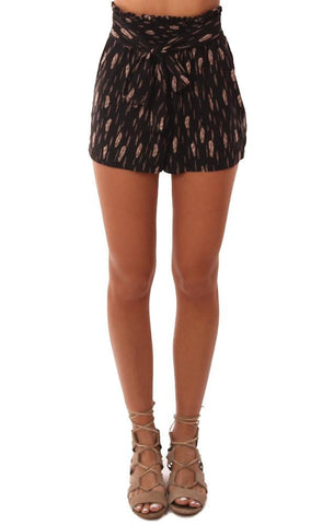 VERONICA M SMOCKED TIE WAIST HIGH WAISTED PRINTED BLACK SHORT