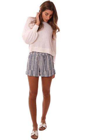 SHORTS STRIPED CUFF HEM DRAWSTRING LINEN BLUE STRIPED SHORT