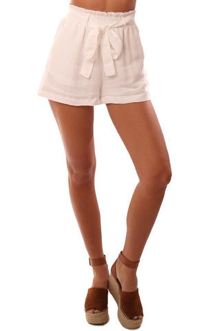 SHORTS HIGH WAISTED SMOCKED TIE WAIST LIGHTWEIGHT FLOWY WHITE SHORT
