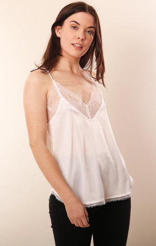 TOPS LACE TRIM SILKY WHITE CAMI TOP