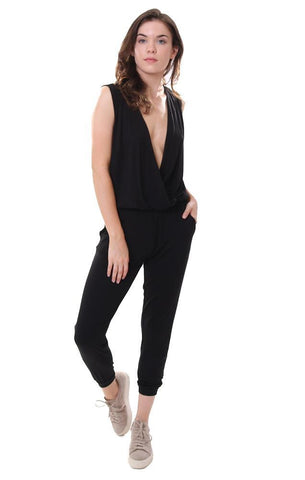 Six Fifty Jumpsuits Ankle Cut Jogger Leg Deep V Neckline Sleeveless Soft Black Jumpsuit