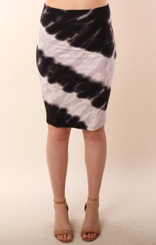 RED HAUTE SKIRTS RIBBED TIE DYE PENCIL SKIRT
