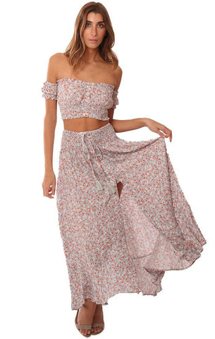 TOPS FLORAL PRINTED CROP TUBE OFF THE SHOULDER MINI BLOUSE
