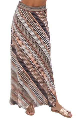 VERONICA M SKIRTS MULTI STRIPED SOFT FLOWY MAXI SKIRT