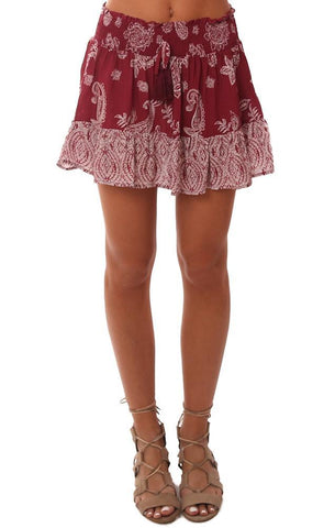 VINTAGE HAVANA SKIRTS SMOCKED WAIST TASSEL TIE PRINTED RED BOHO MINI SKIRT