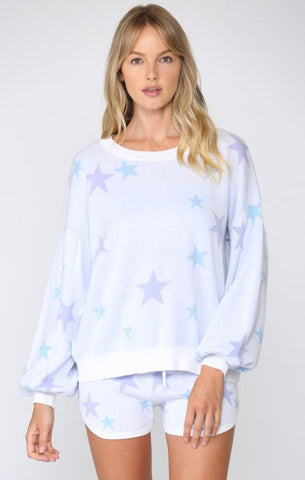 STAR KNIT PULLOVER FATE BLUE AND PURPLE SOFT SPRING SHORTS SETS