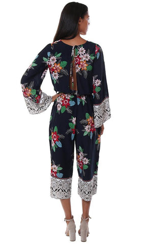 Storia Jumpsuits V Neck Cross Front Kimono Sleeve Crop Floral Jumper