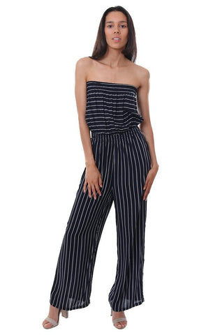 JUMPSUITS STRAPLESS WIDE LEG STRIPED NAVY / WHITE JUMPESUIT
