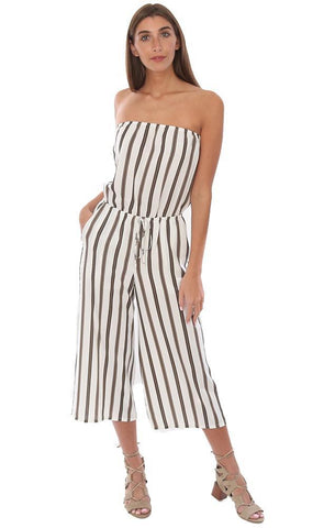 VERONICA M JUMPSUITS STRAPLESS CROPPED WIDE LEG TIE WAIST STRIPED JUMPSUIT