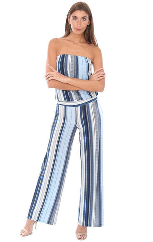 0d9b602568d ... VERONICA M JUMPSUITS STRAPLESS DROP WAIST STRIPED LONG WIDE LEG BLUE  CHIC JUMPSUIT