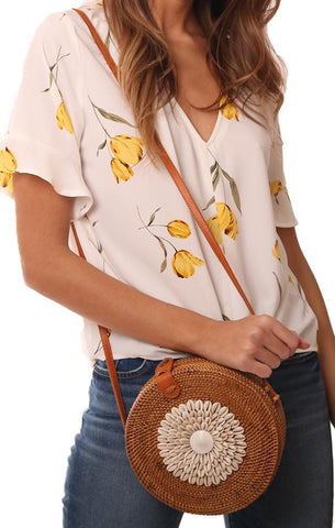 HANDBAGS WOVEN STRAW SEASHELL EMBELLISHED ROUND CROSSBODY BAG