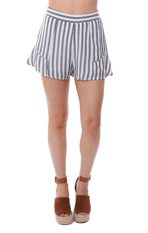 SHORTS STRIPED RUFFLE SIDE BLUE / WHITE LIGHTWEIGHT SUMMER SHORTS