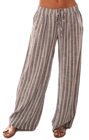 BELLA DAHL PANTS PLEATED FRONT WIDE LEG STRIPED BEACH PANT