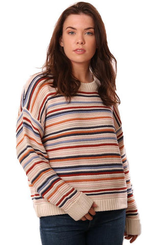 525 AMERICA SWEATERS LONG SLEEVE CREW NECK MULTI STRIPED OVERSIZED KNIT PULLOVER