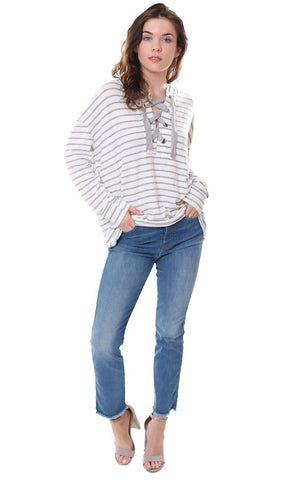 VINTAGE HAVANA TOPS LACE UP STRIPED SOFT IVORY / GREY HOODIE