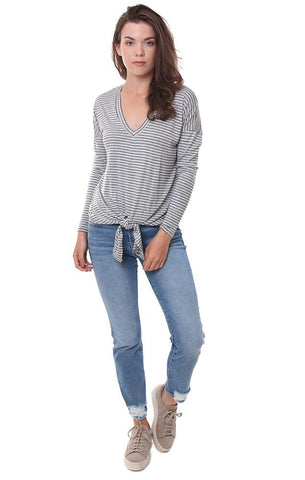 a6d7ae4d4e71 Veronica M Tops Tie Front Striped Long Sleeve V Neck Tee ...