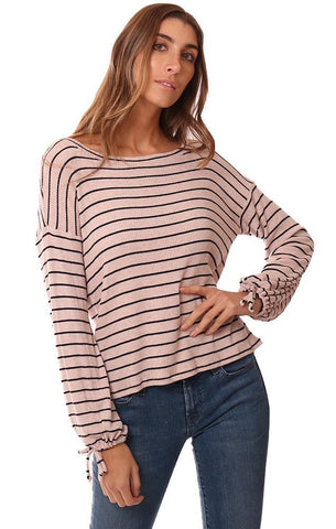 RED HAUTE TOPS STRIPED TIED LONG SLEEVE CUTOUT BACK SOFT PINK STRIPED KNIT TOP