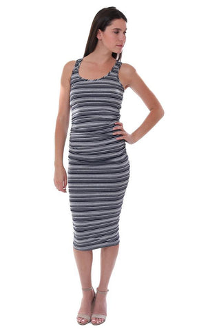 MICHAEL STARS DRESSES RACERBACK GREY / BLACK STRIPED TANK MIDI DRESS