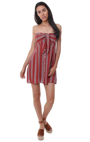 SKYLAR & MADISON DRESSES STRIPED STRAPLESS TIE FRONT RED MINI DRESS
