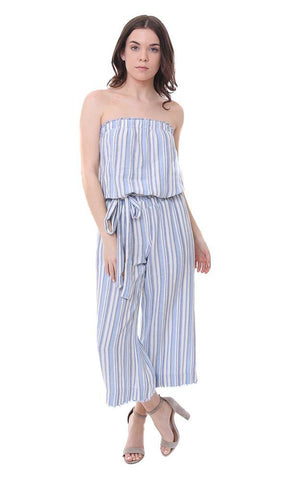 Bella Dahl Jumpsuit Striped Crop leg strapless jumper