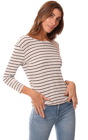 RED HAUTE TOPS STRIPED LONG SLEEVE CUTOUT TWIST BACK SOFT STRIPED KNIT TOP