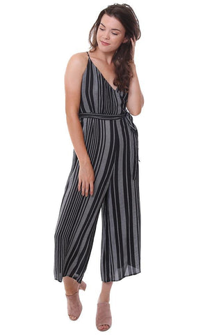 DRESS FORUM JUMPSUITS STRIPED BELTED CULOTTE WIDE LEG CROP BLACK JUMPER
