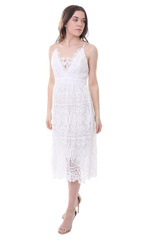 V Neck Midi Lace White Embroidered Summer Dress