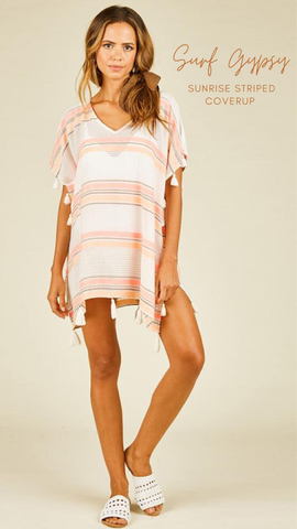 SUNRISE STRIPE COVER UP VINTAGE HAVANA PEACH