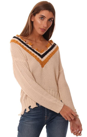 SWEATERS LONG SLEEVE V NECK DISTRESSED STRIPE KNIT PULLOVER