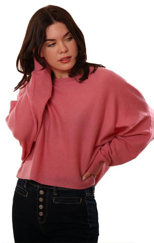 RAFFI SWEATERS CROPPED CREW NECK DOLMAN SLEEVE COZY CASHMERE PINK TOP