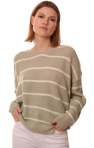 SWEATERS LONG SLEEVE STRIPED TWIST BACK LIGHT KNIT PULLOVER TOP