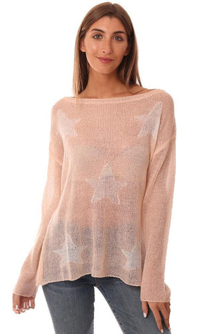 SWEATERS LIGHTWEIGHT KNIT STAR PRINT PINK PULLOVER SWEATER