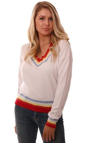 CENTRAL PARK WEST SWEATERS LONG SLEEVE V NECK STRIPED IVORY KNIT PULLOVER