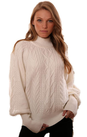 DO AND BE SWEATERS BUBBLE SLEEVES CABLE KNIT WHITE SWEATER
