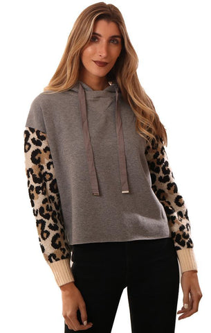 CENTRAL PARK WEST SWEATSHIRTS LONG LEOPARD PRINT SLEEVE GREY HOODIE PULLOVER
