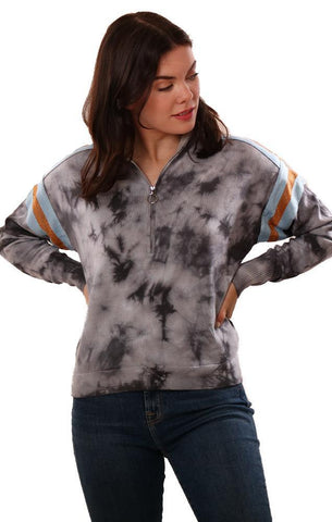 CENTRAL PARK WEST SWEATSHIRTS LONG SLEEVE HALF ZIP TIE DYE PULLOVER