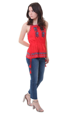 Embroidered halter top red waist tie tank blouse